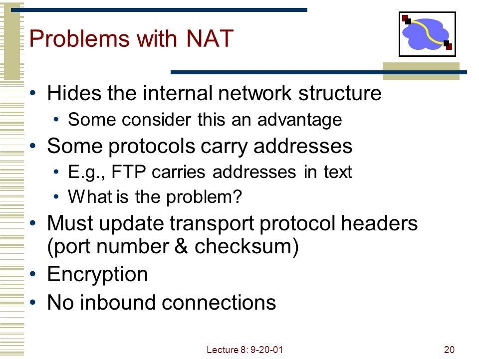 Lecture 8: 9-20-0120 Problems with NAT Hides the internal network structure Some consider this an advantage Some protocols carry addresses E.g., FTP c