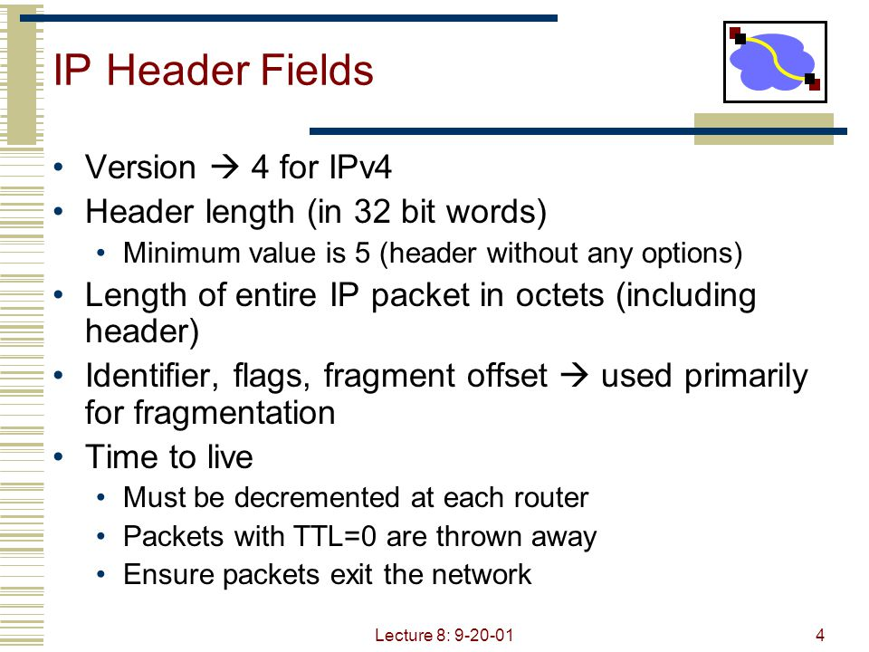 Lecture 8: 9-20-015 IP Header Fields Protocol Demultiplexing to higher layer protocols TCP = 6, ICMP = 1, UDP = 17… Header checksum Ensures some degree of header integrity Relatively weak – 16 bit Source/Dest address Options E.g.