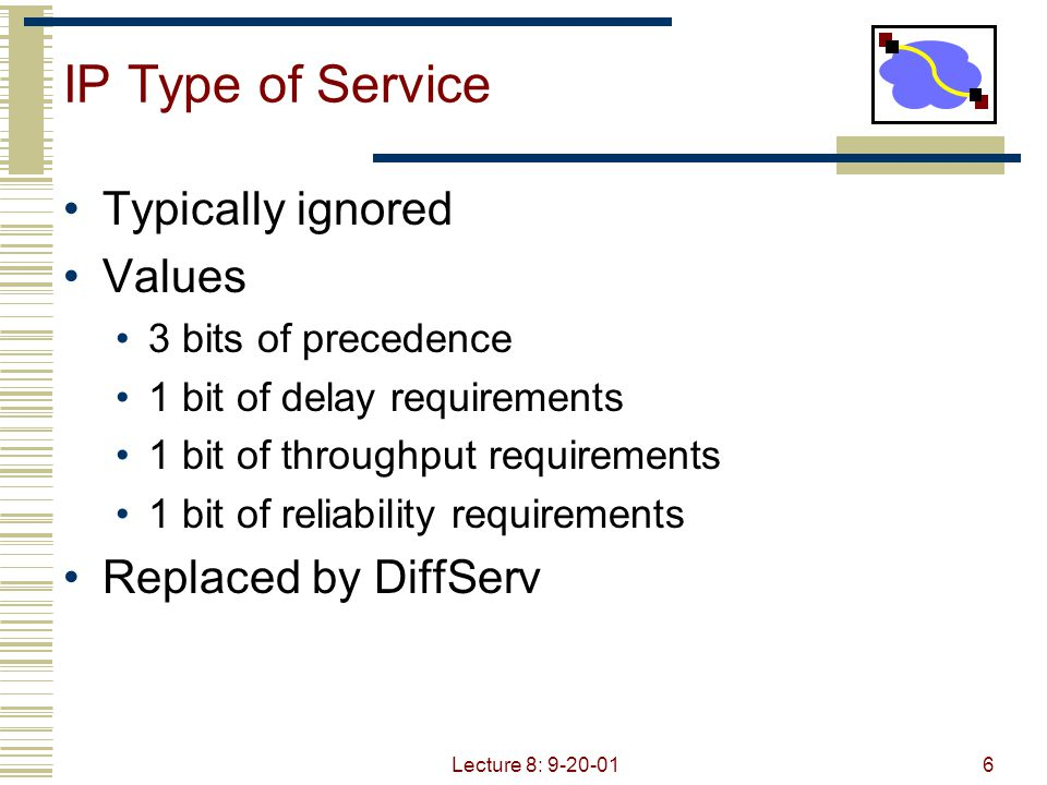 Lecture 8: 9-20-016 IP Type of Service Typically ignored Values 3 bits of precedence 1 bit of delay requirements 1 bit of throughput requirements 1 bi