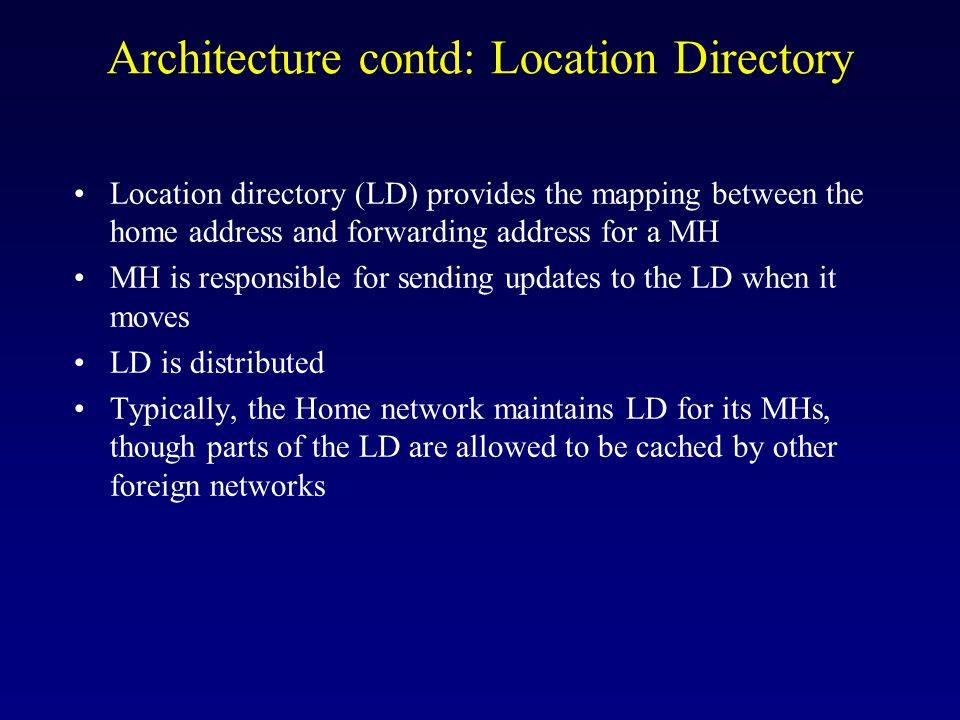 Architecture contd: Address Translation When a source communicates with a MH, the MH puts its HA in the destination address field.