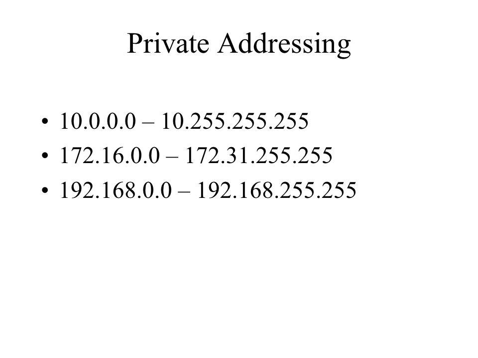 Private Addressing 10.0.0.0 – 10.255.255.255 172.16.0.0 – 172.31.255.255 192.168.0.0 – 192.168.255.255