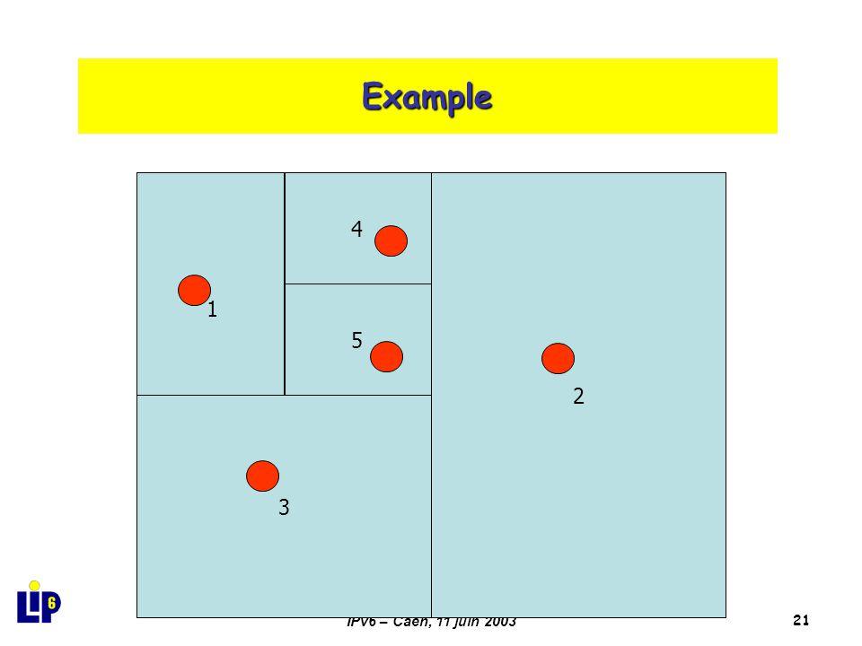 IPv6 – Caen, 11 juin 200321 Example 2 3 14 5 4