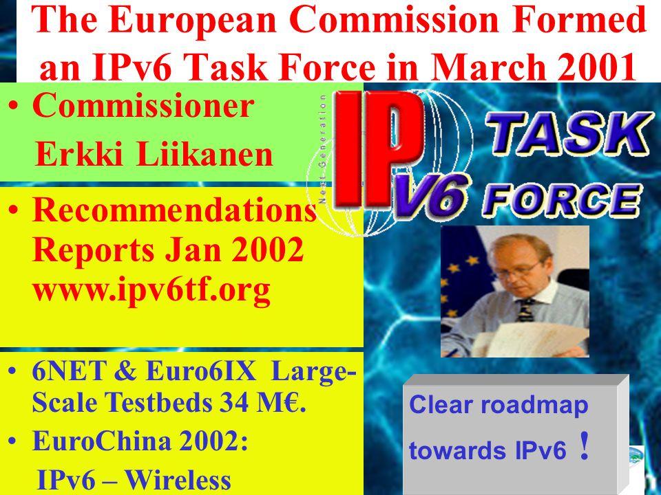 100% IPv6 readiness by 2005 Prime Mister of Japan Yoshiro Mori Korean MIC followed Japan Feb 23, 2001 The 7th Japan-China Regular Bilateral Consultation Dec 2001