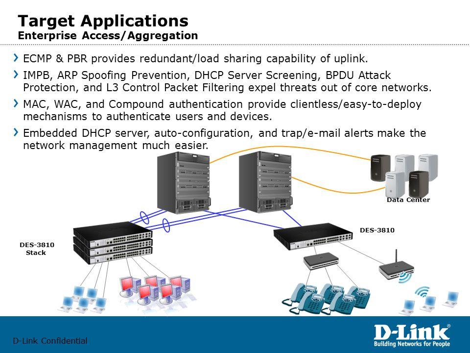 D-Link Confidential Target Applications Enterprise Access/Aggregation DES-3810 Stack DES-3810 ECMP & PBR provides redundant/load sharing capability of uplink.