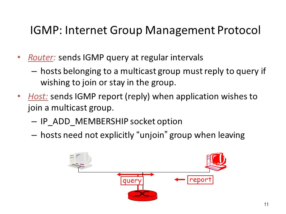 IGMP: Internet Group Management Protocol Router: sends IGMP query at regular intervals – hosts belonging to a multicast group must reply to query if wishing to join or stay in the group.