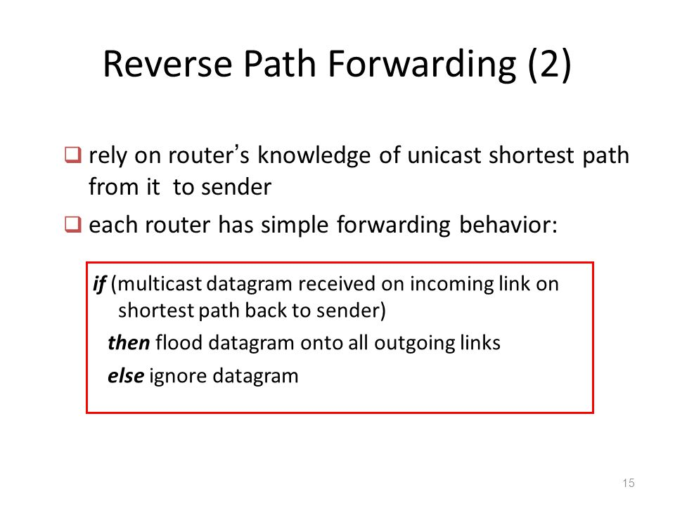 Reverse Path Forwarding (2) if (multicast datagram received on incoming link on shortest path back to sender) then flood datagram onto all outgoing li