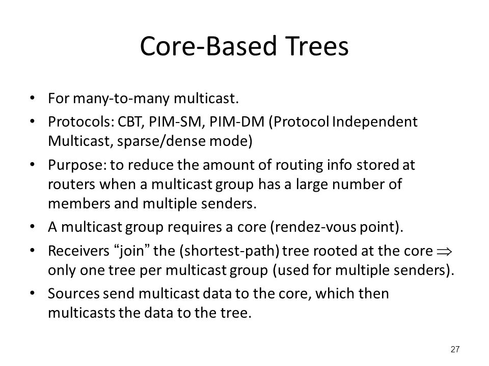 Core-Based Trees For many-to-many multicast.