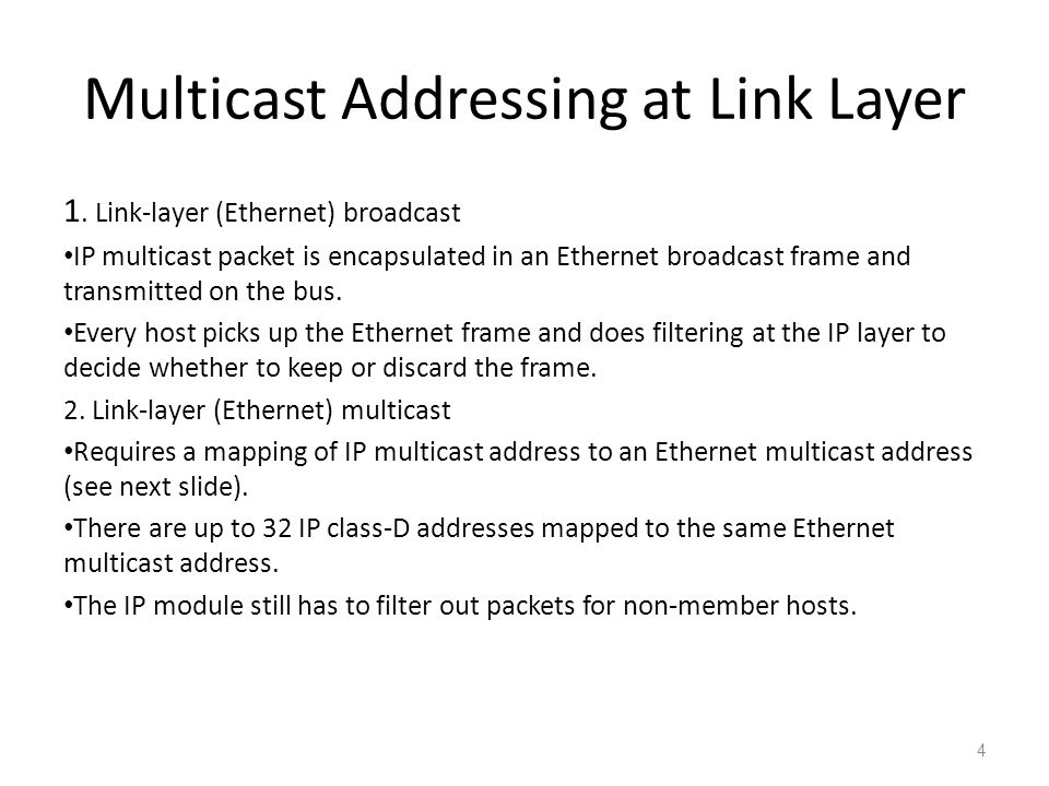 Multicast Addressing at Link Layer 1.