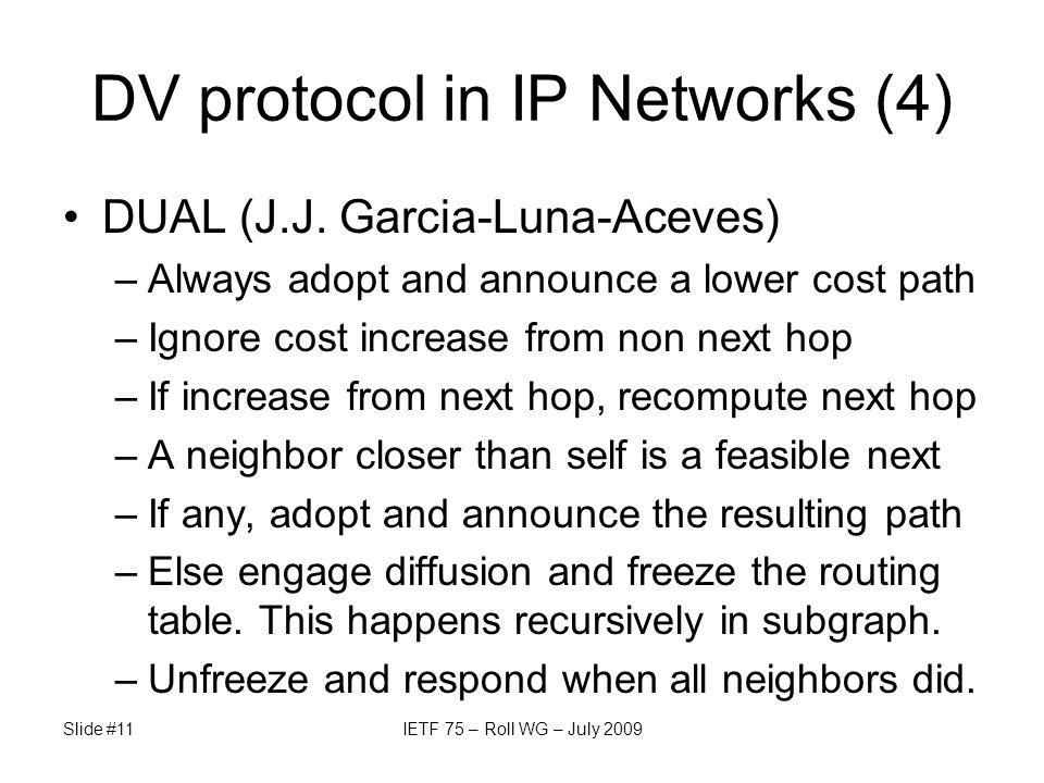 DV protocol in IP Networks (4) DUAL (J.J.