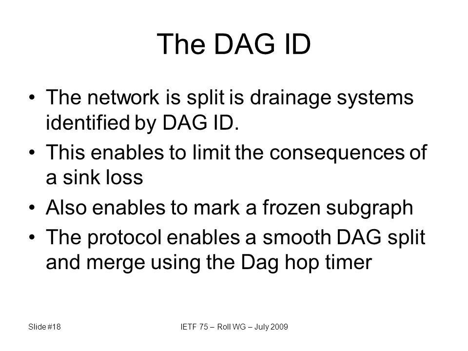 The DAG ID The network is split is drainage systems identified by DAG ID. This enables to limit the consequences of a sink loss Also enables to mark a