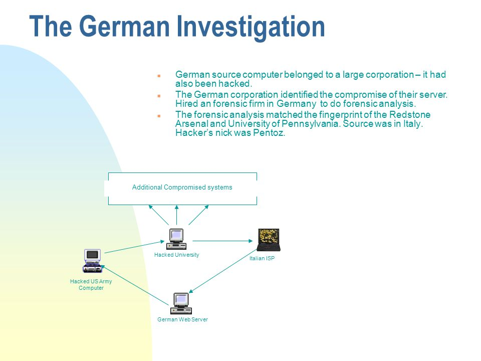 The German Investigation n German source computer belonged to a large corporation – it had also been hacked.