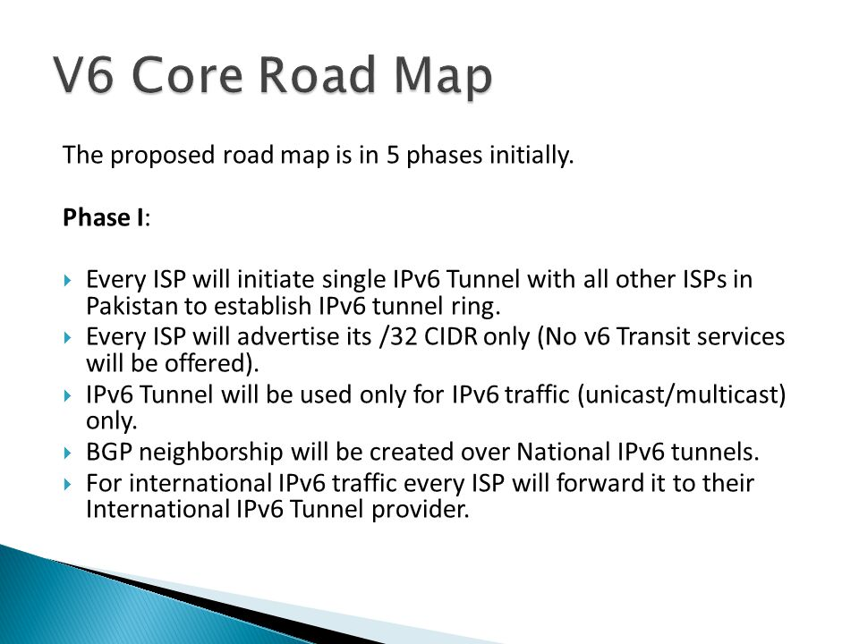 The proposed road map is in 5 phases initially.
