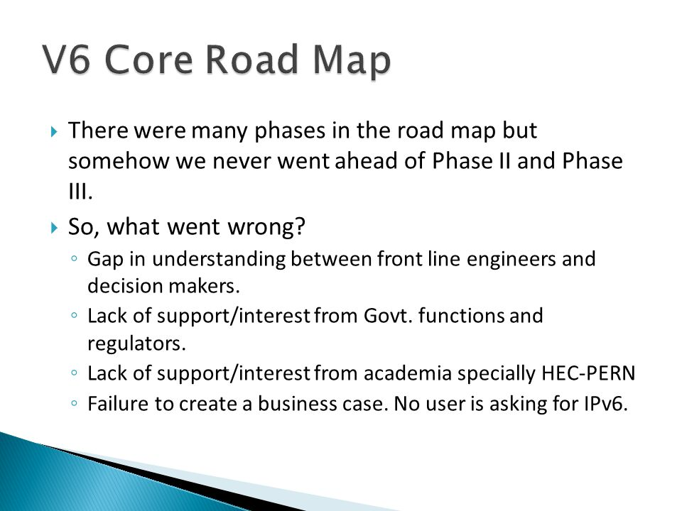  There were many phases in the road map but somehow we never went ahead of Phase II and Phase III.