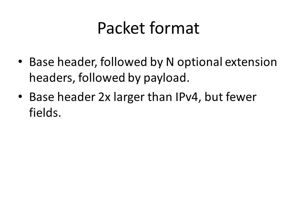 Packet format Base header, followed by N optional extension headers, followed by payload. Base header 2x larger than IPv4, but fewer fields.
