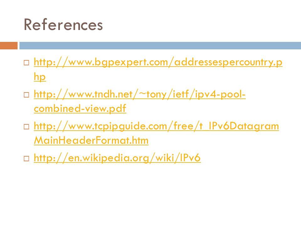 References  http://www.bgpexpert.com/addressespercountry.p hp http://www.bgpexpert.com/addressespercountry.p hp  http://www.tndh.net/~tony/ietf/ipv4-pool- combined-view.pdf http://www.tndh.net/~tony/ietf/ipv4-pool- combined-view.pdf  http://www.tcpipguide.com/free/t_IPv6Datagram MainHeaderFormat.htm http://www.tcpipguide.com/free/t_IPv6Datagram MainHeaderFormat.htm  http://en.wikipedia.org/wiki/IPv6 http://en.wikipedia.org/wiki/IPv6