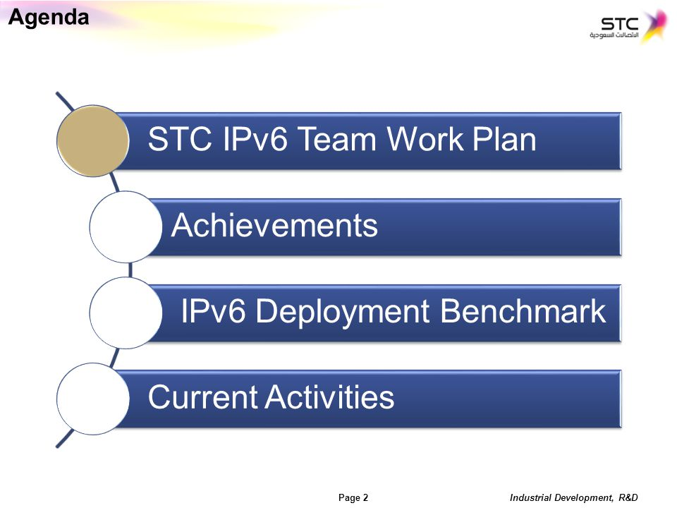 Industrial Development, R&D Page 3 Industrial Development, R&D Page 3 STC IPv6 Team Work Plan (2011) Live Network Readiness IPv6 DSL HSI Pilot IPv6 3G mobile broadband internet service trial Lab trial for the MOI systems readiness for IPv6.