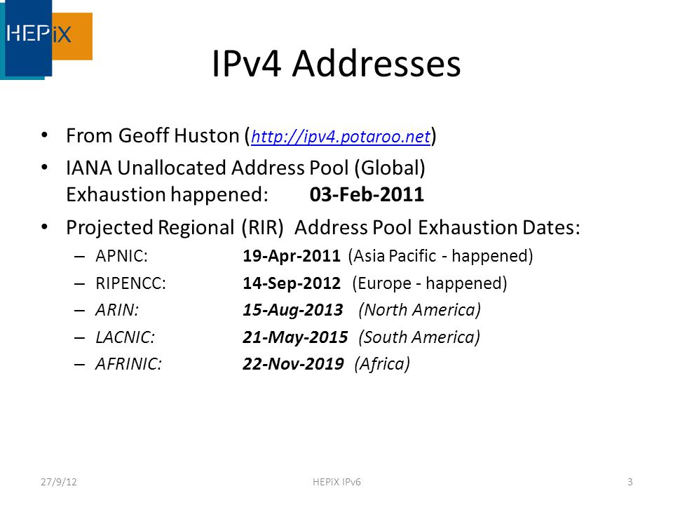 HEPiX IPv6 Working Group Created in April 2011 with aims: Consider whether/how IPv6 should be deployed in HEP – especially WLCG (Worldwide Large Hadron Collider Grid) Readiness and Gap analysis HEP applications, middleware, security issues, system management and monitoring tools, end to end network monitoring tools Run a distributed HEP testbed – to help explore all the above issues We meet face to face 3 or 4 times a year – And by video conference in between 27/9/124HEPiX IPv6