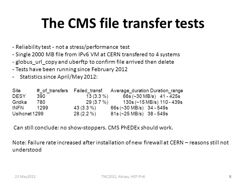 8 The CMS file transfer tests - Reliability test - not a stress/performance test - Single 2000 MB file from IPv6 VM at CERN transfered to 4 systems -