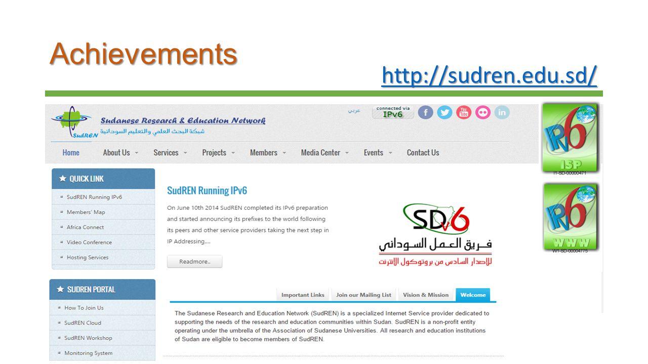 Achievements http://sudren.edu.sd/ http://sudren.edu.sd/http://sudren.edu.sd/