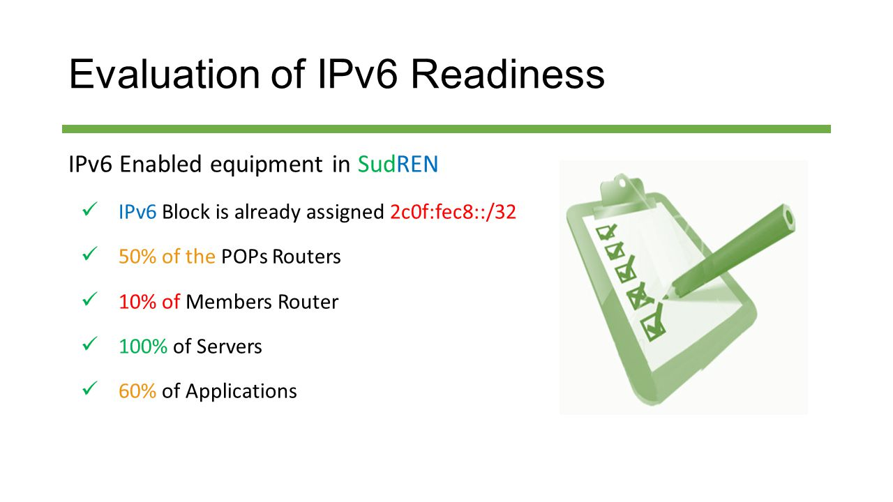 Evaluation of IPv6 Readiness IPv6 Enabled equipment in SudREN IPv6 Block is already assigned 2c0f:fec8::/32 50% of the POPs Routers 10% of Members Router 100% of Servers 60% of Applications
