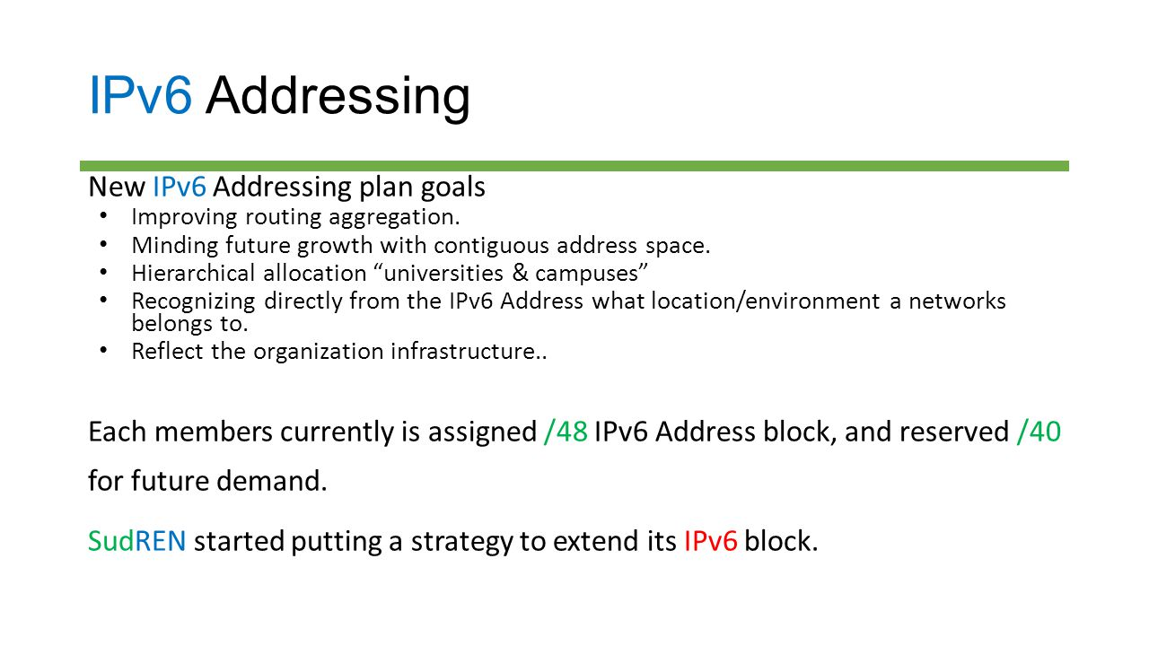IPv6 Addressing New IPv6 Addressing plan goals Improving routing aggregation. Minding future growth with contiguous address space. Hierarchical alloca