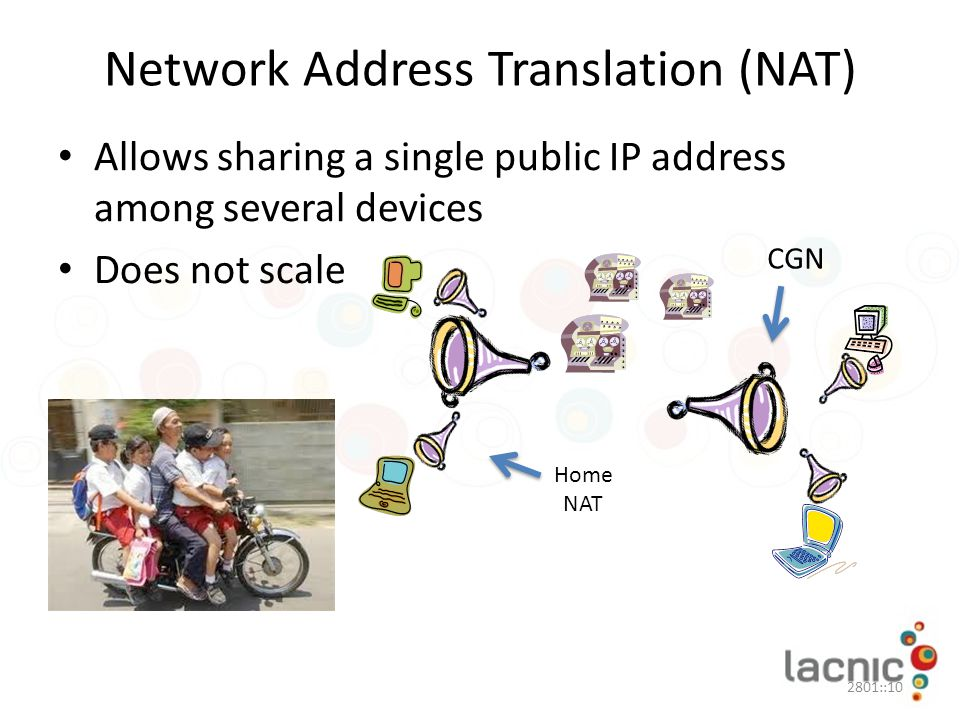 Network Address Translation (NAT) Allows sharing a single public IP address among several devices Does not scale 2801::10 CGN Home NAT