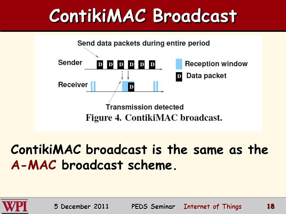 ContikiMAC Broadcast 5 December 2011 PEDS Seminar Internet of Things 18 ContikiMAC broadcast is the same as the A-MAC broadcast scheme.