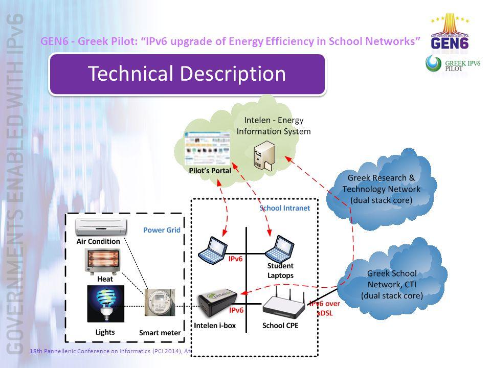 "GEN6 - Greek Pilot: ""IPv6 upgrade of Energy Efficiency in School Networks"" Technical Description 18th Panhellenic Conference on Informatics (PCI 2014)"