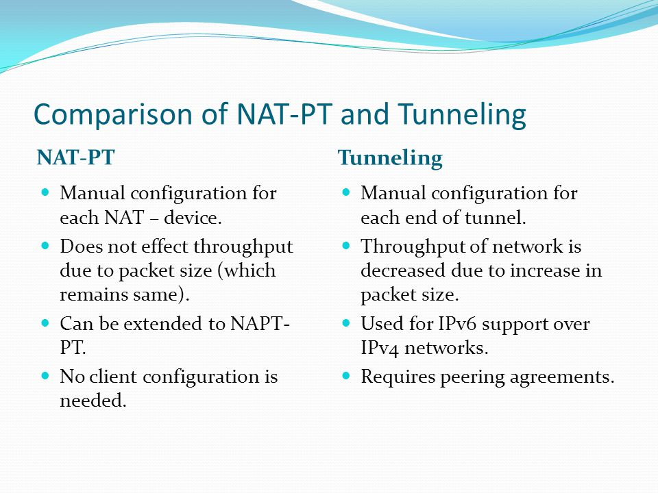 Comparison of NAT-PT and Tunneling NAT-PT Tunneling Manual configuration for each NAT – device. Does not effect throughput due to packet size (which r