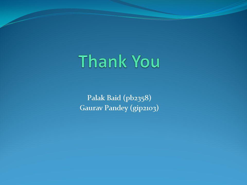 Palak Baid (pb2358) Gaurav Pandey (gip2103)