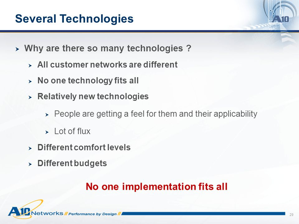 29 Several Technologies  Why are there so many technologies ?  All customer networks are different  No one technology fits all  Relatively new tec