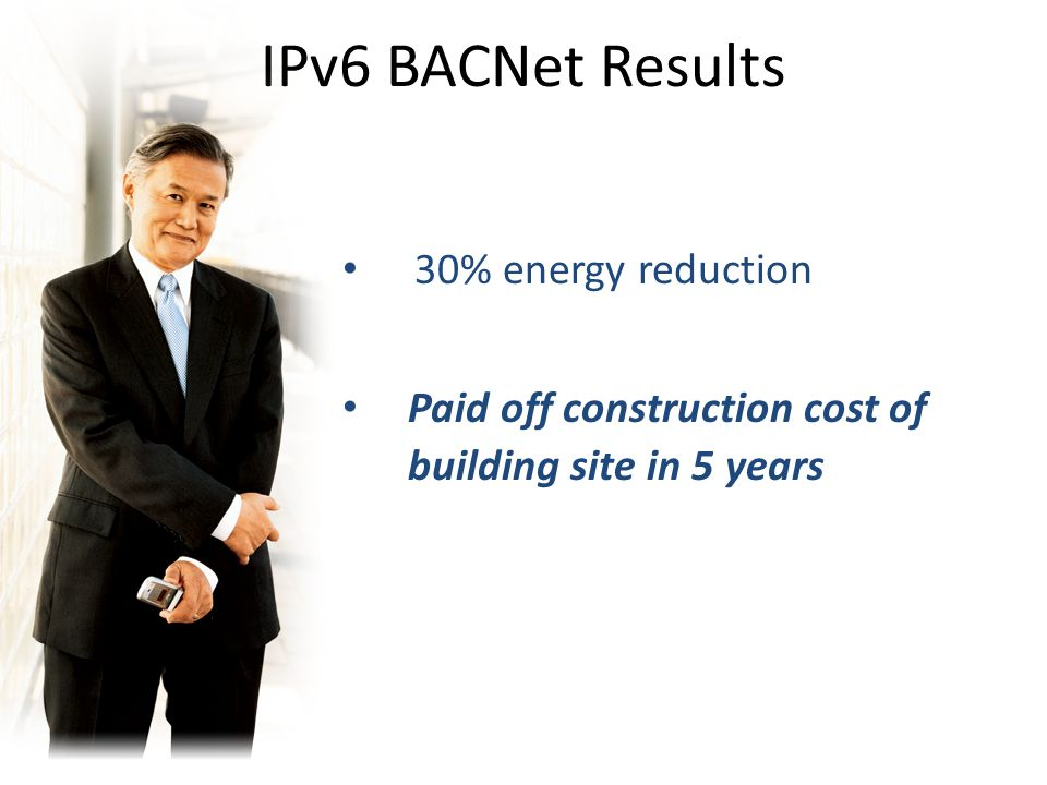 30% energy reduction Paid off construction cost of building site in 5 years IPv6 BACNet Results