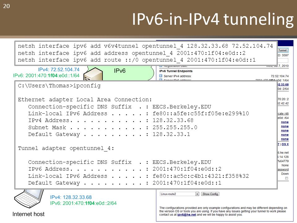 "20 IPv6-in-IPv4 ""tunneling"" – Needed when you live in IPv4-only world – Your computer creates an IPv6 packet – It puts IPv6 packet in IPv4 packet (tun"