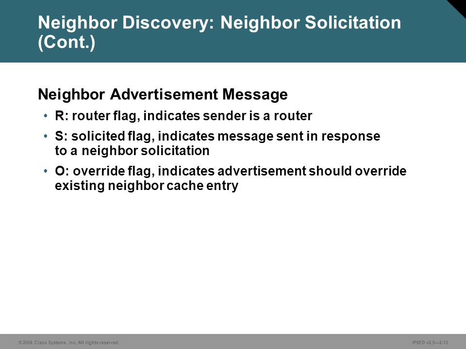 © 2006 Cisco Systems, Inc. All rights reserved.IP6FD v2.0—2-13 Neighbor Discovery: Neighbor Solicitation (Cont.) Neighbor Advertisement Message R: rou