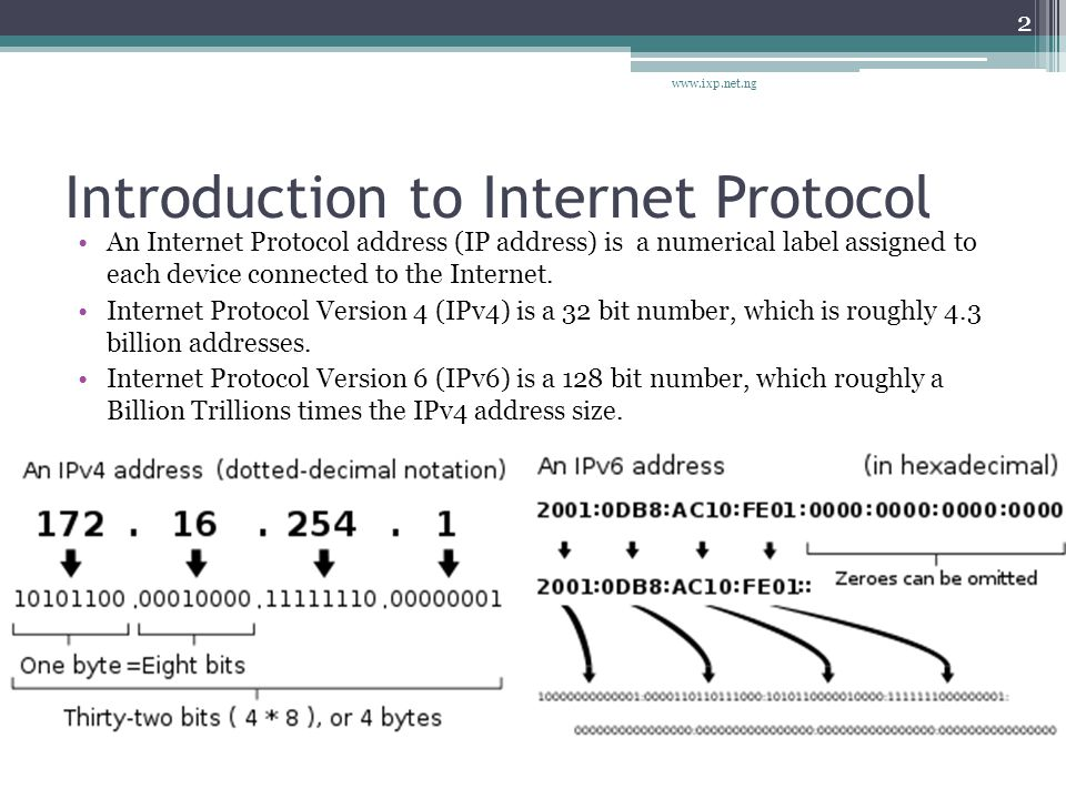 Introduction to Internet Protocol An Internet Protocol address (IP address) is a numerical label assigned to each device connected to the Internet.