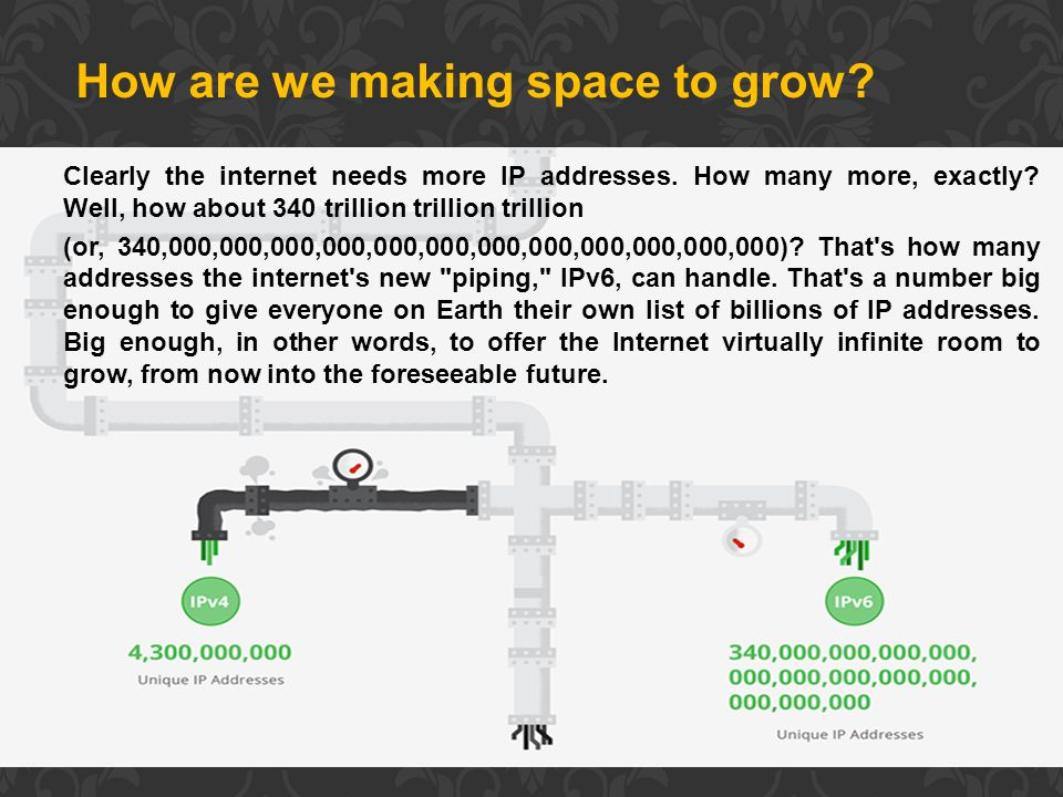 How are we making space to grow. Clearly the internet needs more IP addresses.