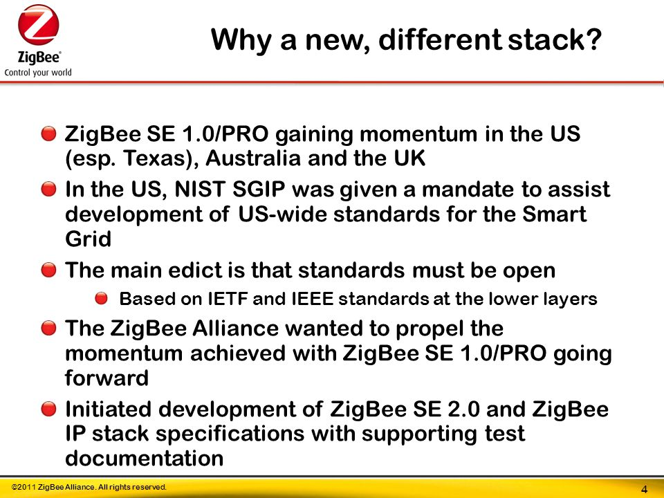 ©2011 ZigBee Alliance. All rights reserved. ZigBee SE 1.0/PRO gaining momentum in the US (esp.
