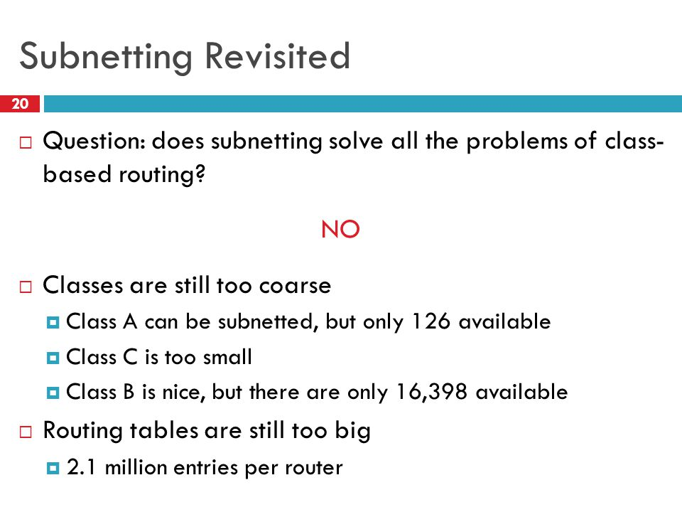 Subnetting Revisited 20  Question: does subnetting solve all the problems of class- based routing? NO  Classes are still too coarse  Class A can be
