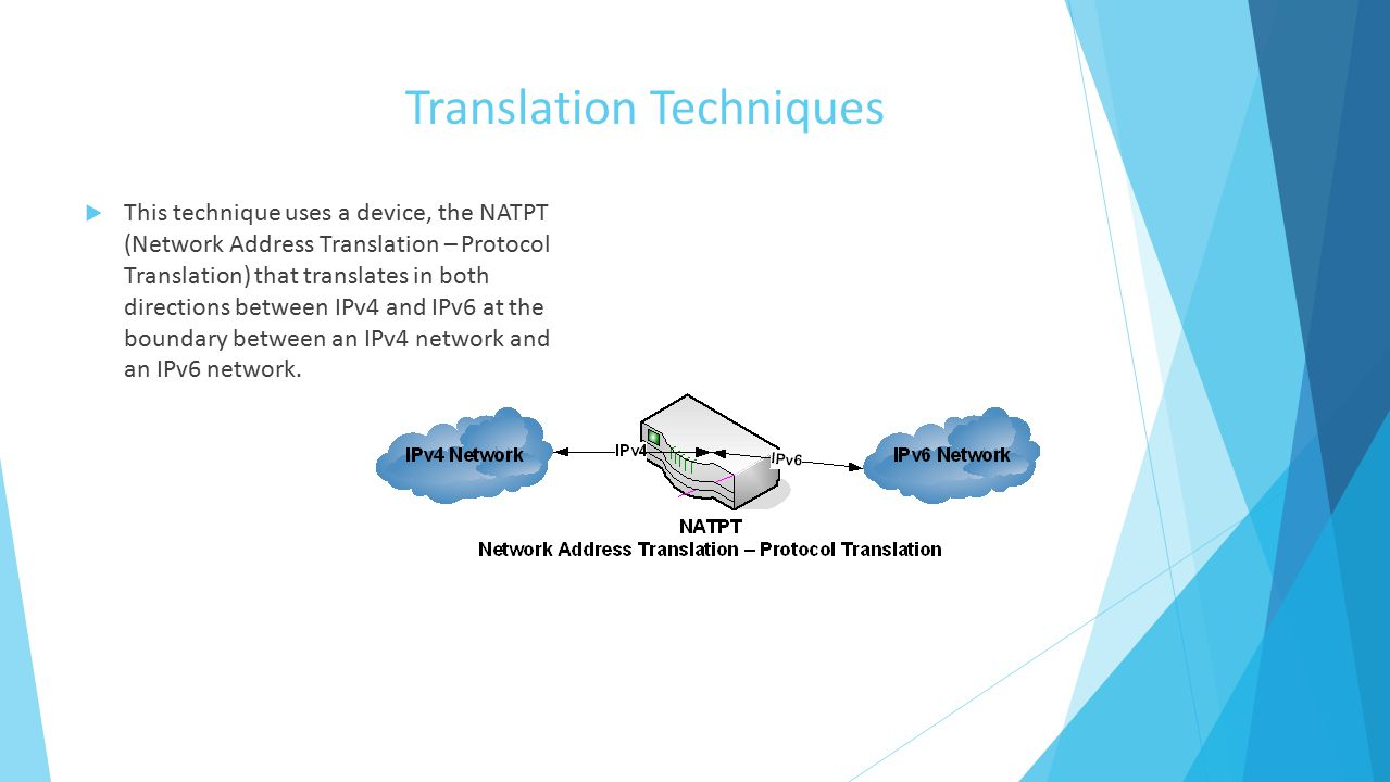 Translation Techniques  This technique uses a device, the NATPT (Network Address Translation – Protocol Translation) that translates in both directions between IPv4 and IPv6 at the boundary between an IPv4 network and an IPv6 network.