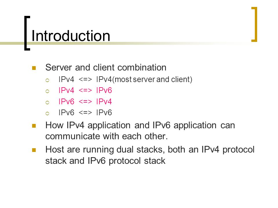 Introduction Server and client combination  IPv4 IPv4(most server and client)  IPv4 IPv6  IPv6 IPv4  IPv6 IPv6 How IPv4 application and IPv6 application can communicate with each other.