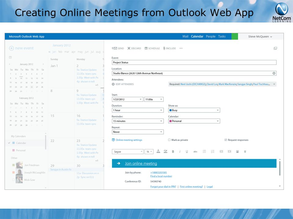 Creating Online Meetings from Outlook Web App