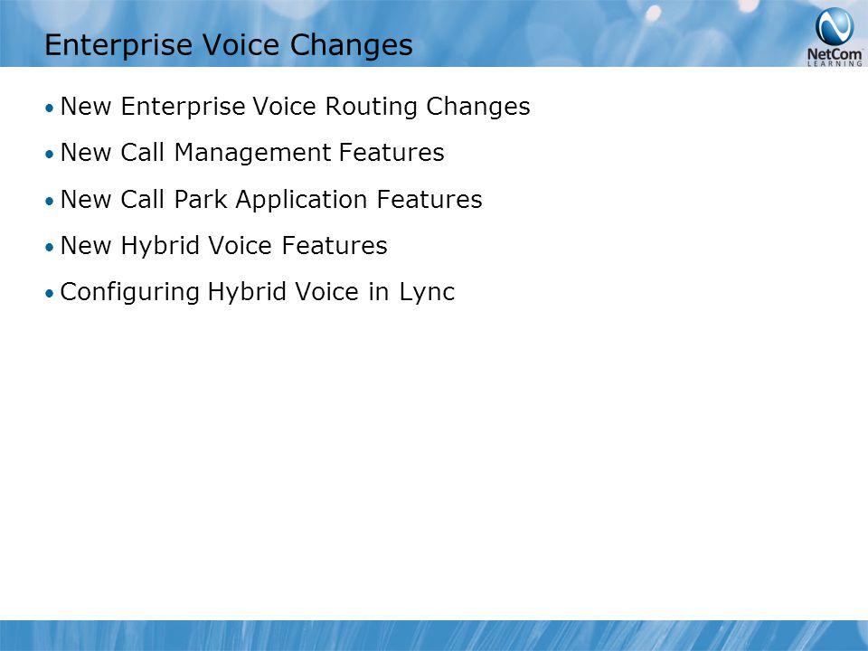 Enterprise Voice Changes New Enterprise Voice Routing Changes New Call Management Features New Call Park Application Features New Hybrid Voice Feature