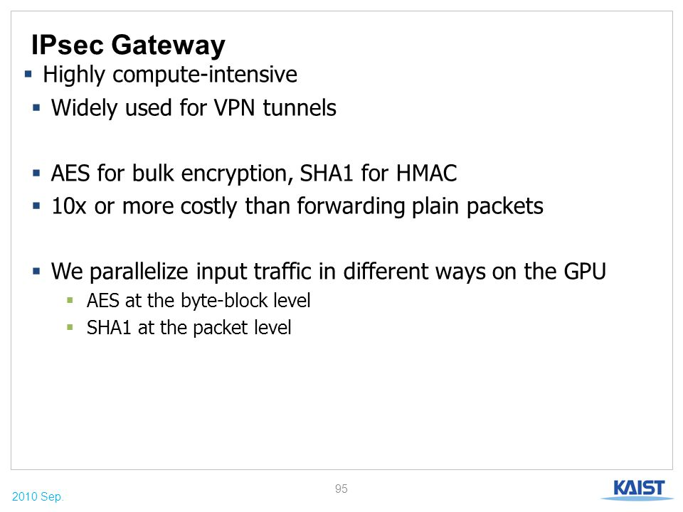 2010 Sep. IPsec Gateway  Widely used for VPN tunnels  AES for bulk encryption, SHA1 for HMAC  10x or more costly than forwarding plain packets  We