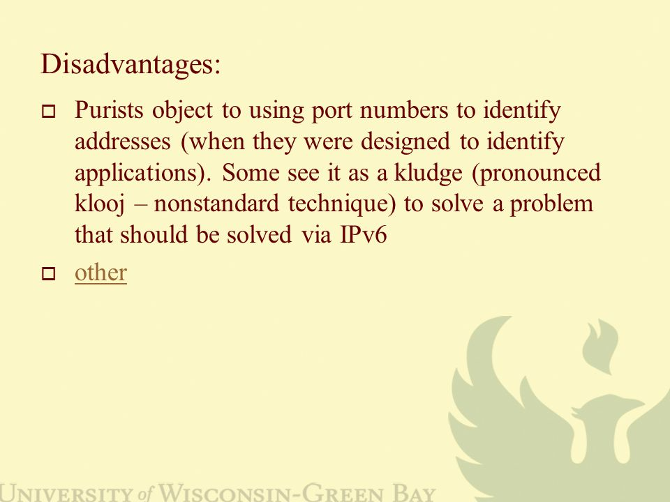 Disadvantages:  Purists object to using port numbers to identify addresses (when they were designed to identify applications).