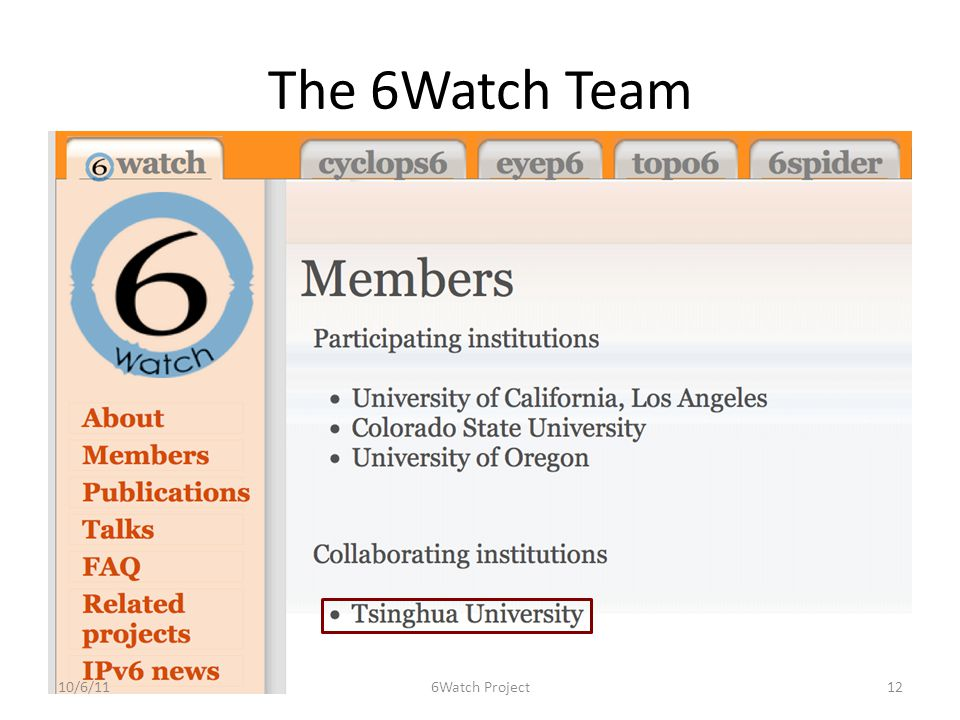 The 6Watch Team 10/6/11126Watch Project