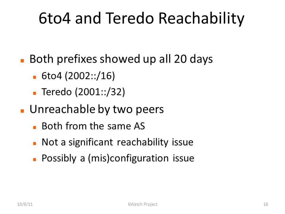 6to4 and Teredo Reachability Both prefixes showed up all 20 days 6to4 (2002::/16) Teredo (2001::/32) Unreachable by two peers Both from the same AS Not a significant reachability issue Possibly a (mis)configuration issue 10/6/11166Watch Project