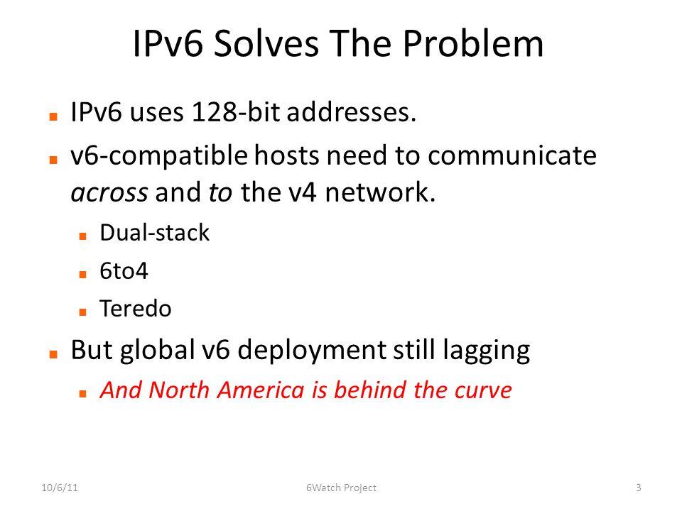 IPv6 Solves The Problem IPv6 uses 128-bit addresses.