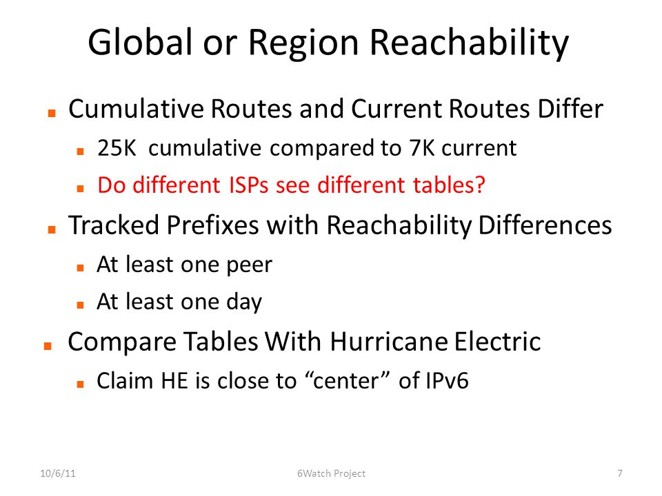 Global or Region Reachability Cumulative Routes and Current Routes Differ 25K cumulative compared to 7K current Do different ISPs see different tables.