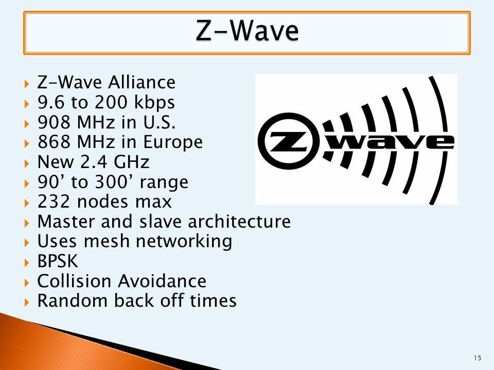  Z-Wave Alliance  9.6 to 200 kbps  908 MHz in U.S.