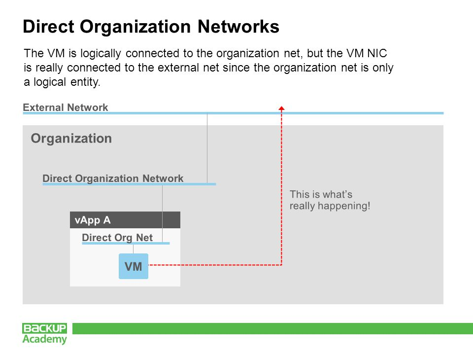 Direct Organization Networks The VM is logically connected to the organization net, but the VM NIC is really connected to the external net since the organization net is only a logical entity.